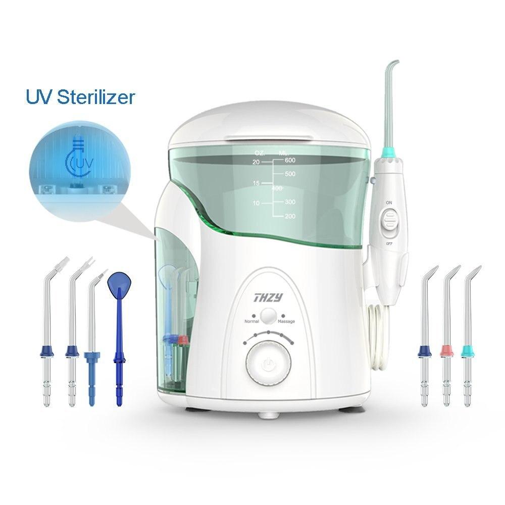 Лучшие продажи воды Flosser Professional ирригатор для полости рта с УФ стерилизатор, семья THZY Регулируемый давление установка зубные струи воды