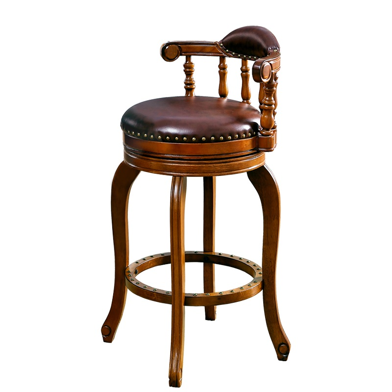 цена European style bar chair modern simple leather bar chair home American Style high bar stool онлайн в 2017 году