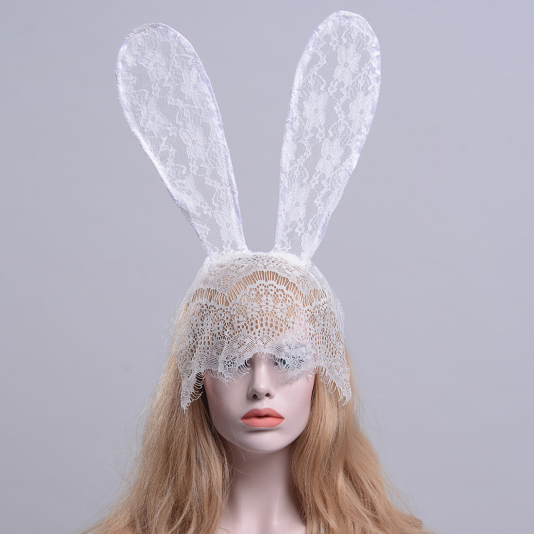 90614b29f14 charming women sexy lace rabbit bunny ears veil black eye mask halloween  party headwear hair ornament