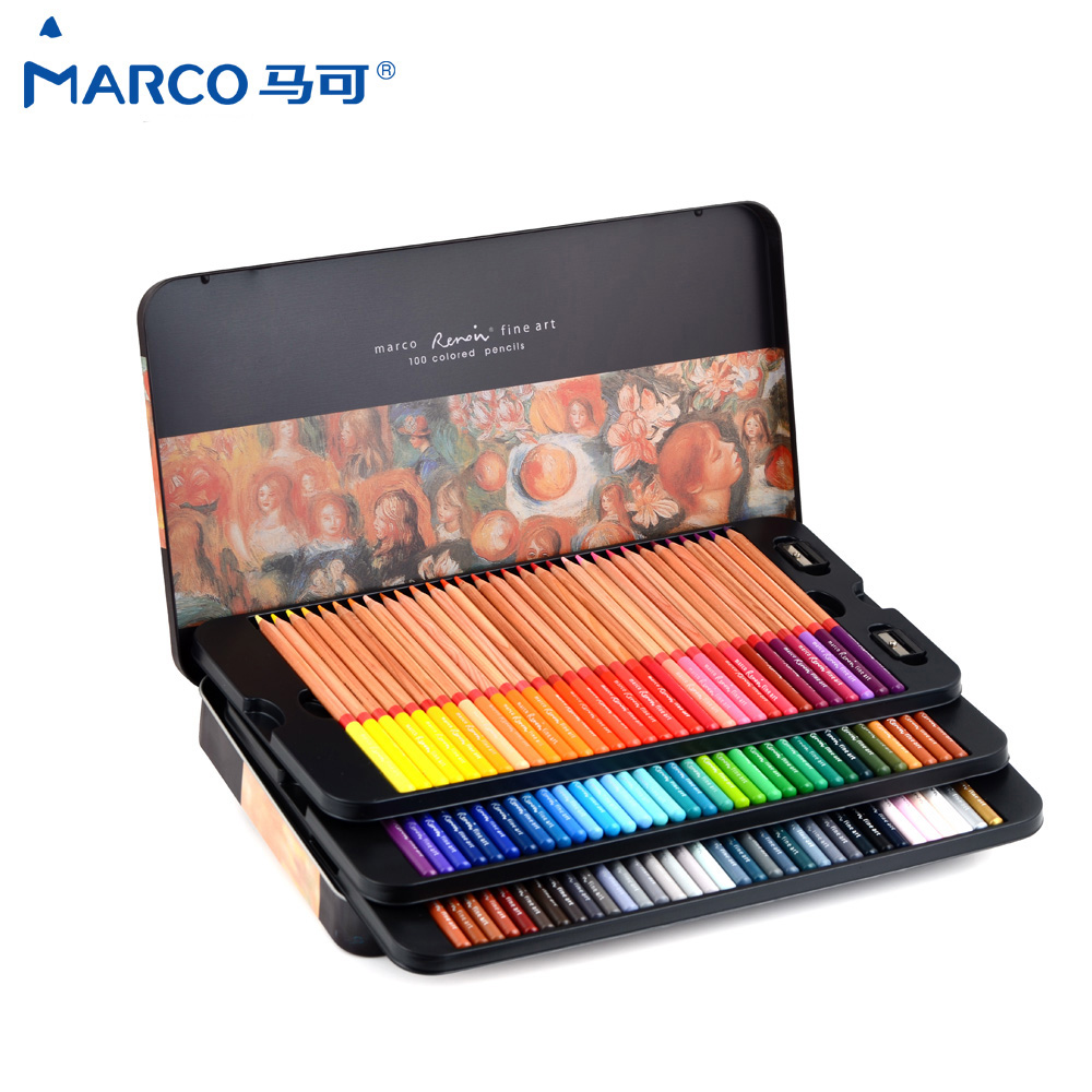 Marco Renoir 24/36/48/100 Color oily Professional Art Colour Pencils in the box 3100 lapices de colores 72 School Art Supplies image