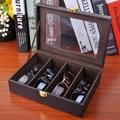 Высокого класса Pu кожаная коробка для хранения очков солнцезащитные очки организатор box очки отображения коробки для Путешествия портативный 4 сетка