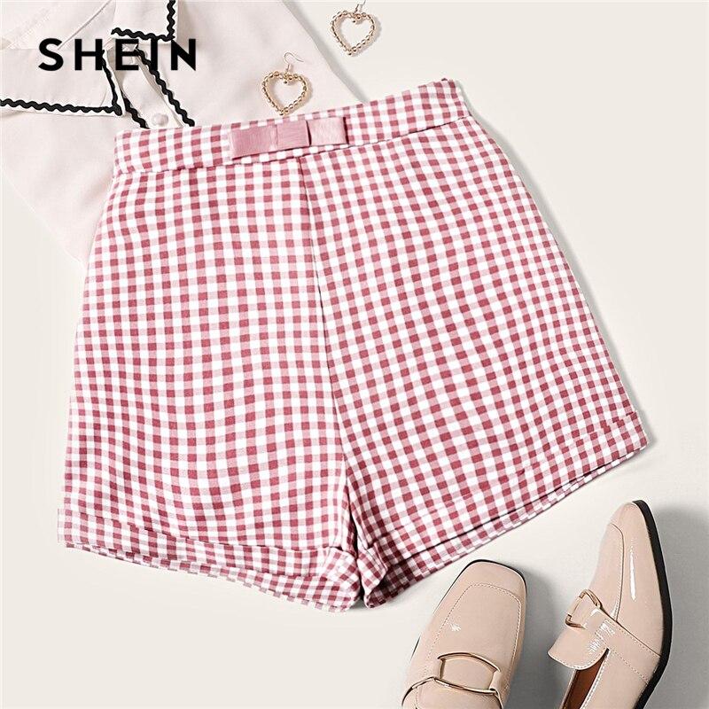 SHEIN Vintage Multicolor Bow Waist Roll Hem Gingham Shorts Women Zipper Fly Mid Waist Summer 2019 Cute Elegant Plaid Shorts