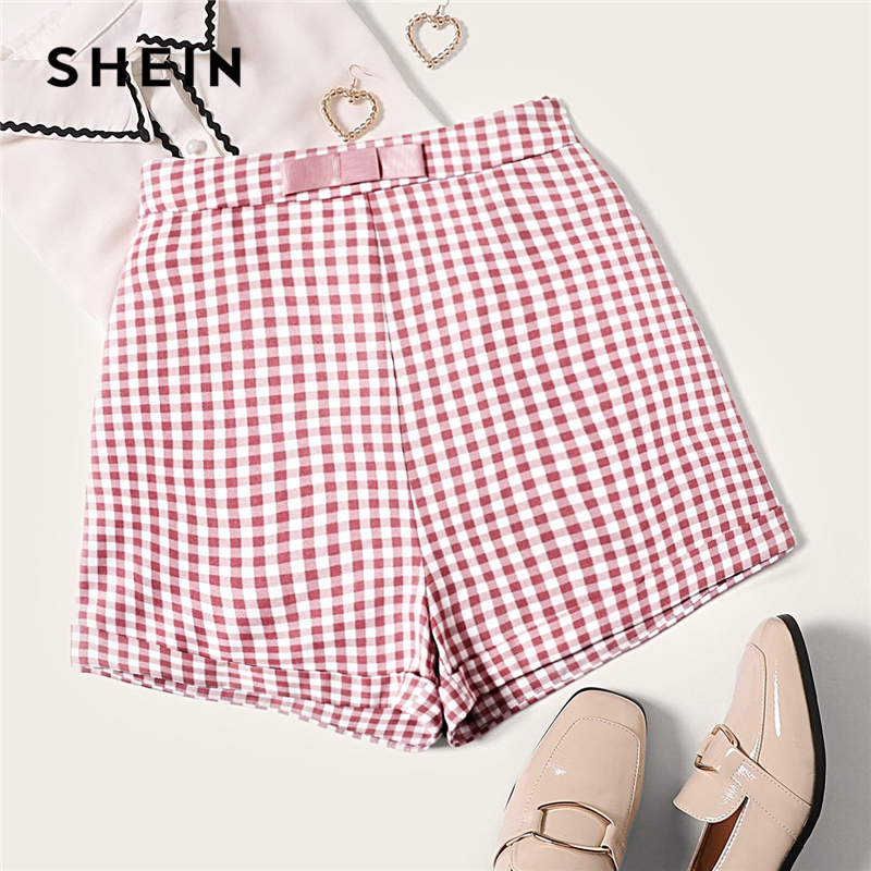 SHEIN Vintage Multicolor Bow Waist Roll Hem Gingham   Shorts   Women Zipper Fly Mid Waist Summer 2019 Cute Elegant Plaid   Shorts