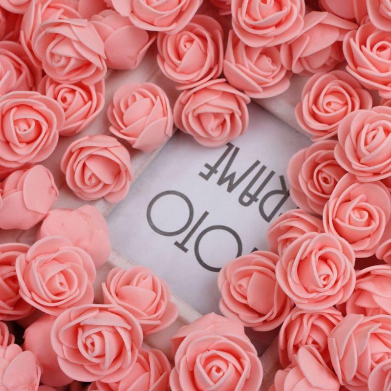 144Pcs/Pack 2cm Mini PE Foam Artificial Rose Flower Head For DIY Craft Wreath Wedding Bouquet Scrapbooking Party Home Decoratio