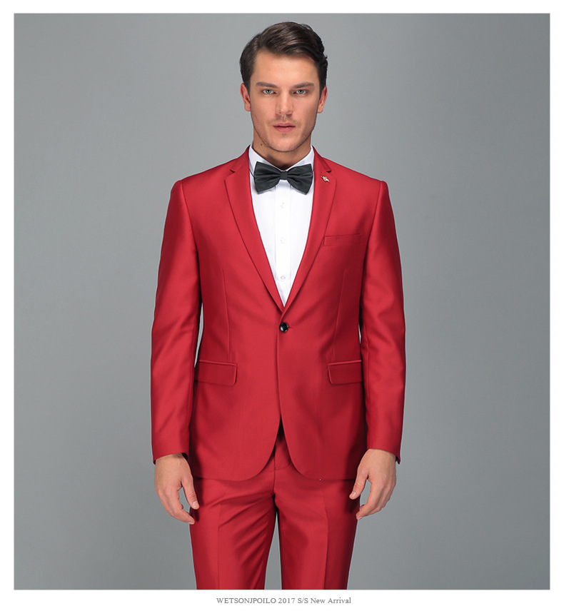 2018 Men Business Suit Slim Fit Classic Male Suits Blazers High-end Brand Custom Red Two Buttons 2 Pieces(Suit Jacket+pants)