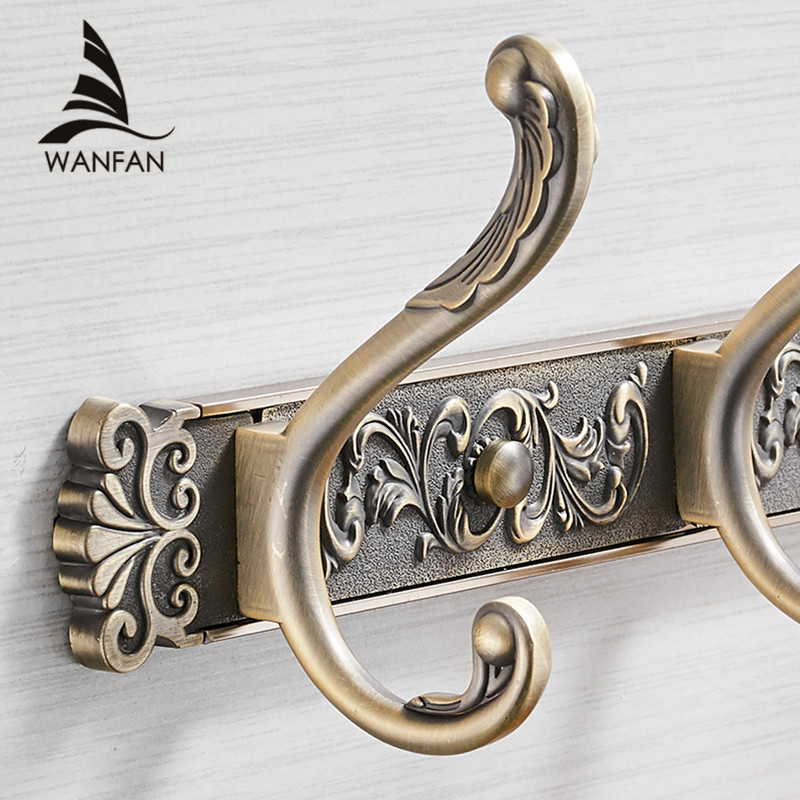 Free Shipping Bathroom Wall Carving Antique Robe Hooks Brass Row Hook Coat Hanger Door Hooks For Bathroom Accessories Ha 26f