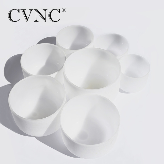 CVNC 6″-12″ Note CDEFGAB set of  7PCS Chakra  Frosted Quartz Crystal Singing Bowl