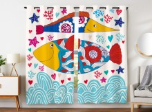 Blackout Curtains 2 Panels Grommet Curtains for Bedroom Creative Design Colorful Fish Waves Starfish Coral