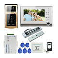 "Free Shipping 7"" LCD Screen Record Video Door Phone Intercom Kit + Golden RFID Keypad Outdoor Bell Camera Electric Magnetic Lock"