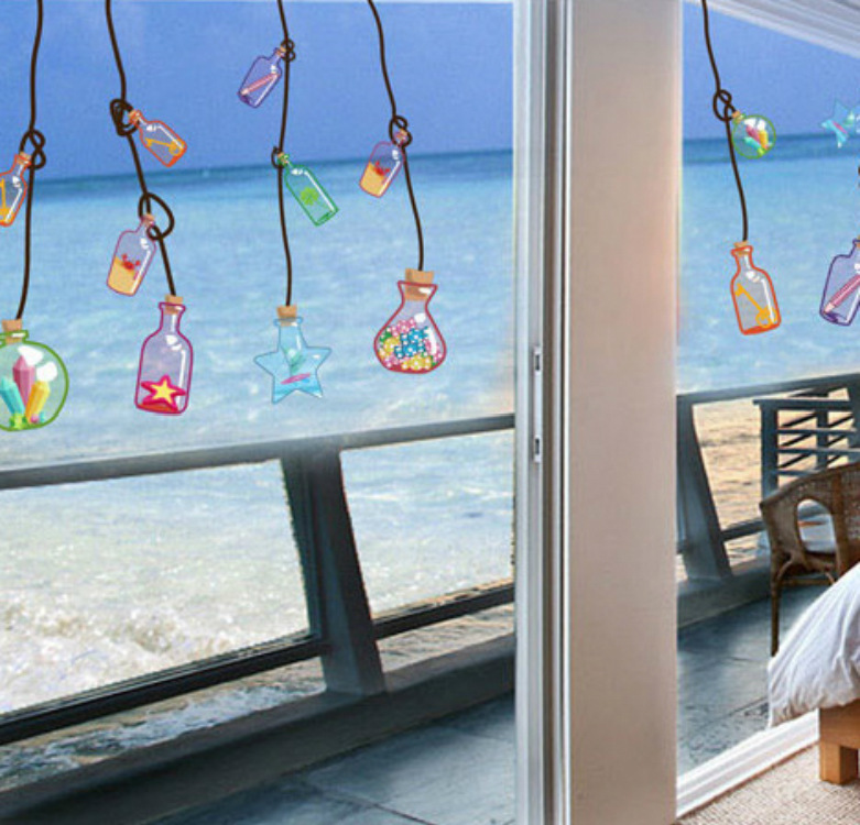 Glass Front Kids Room Decor: 3d Wall Art Decor DIY Carton Wishing Bottle Wall Stickers
