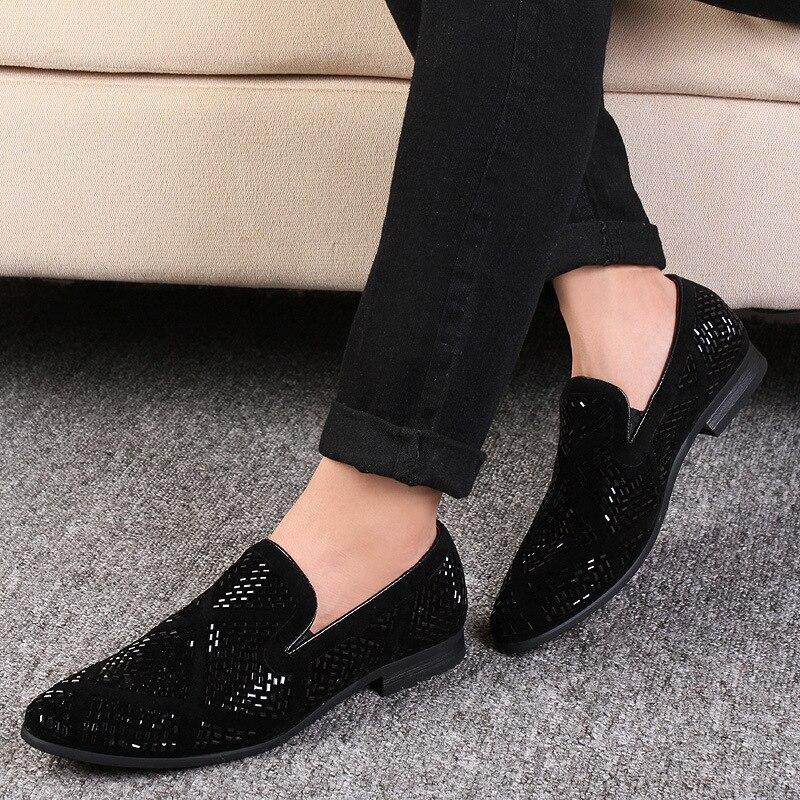 Homme mocassins chaussures 2019 mode fête robe chaussures bout pointu strass décontracté plat respirant grande taille affaires chaussures - 5