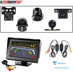 Koorinwoo Беспроводной 4,3 дюймов ЖК-дисплей монитор Rearview автомобиля 2 видеовходов DVD VCR дисплей для автомобиля камера заднего вида Обратный экран