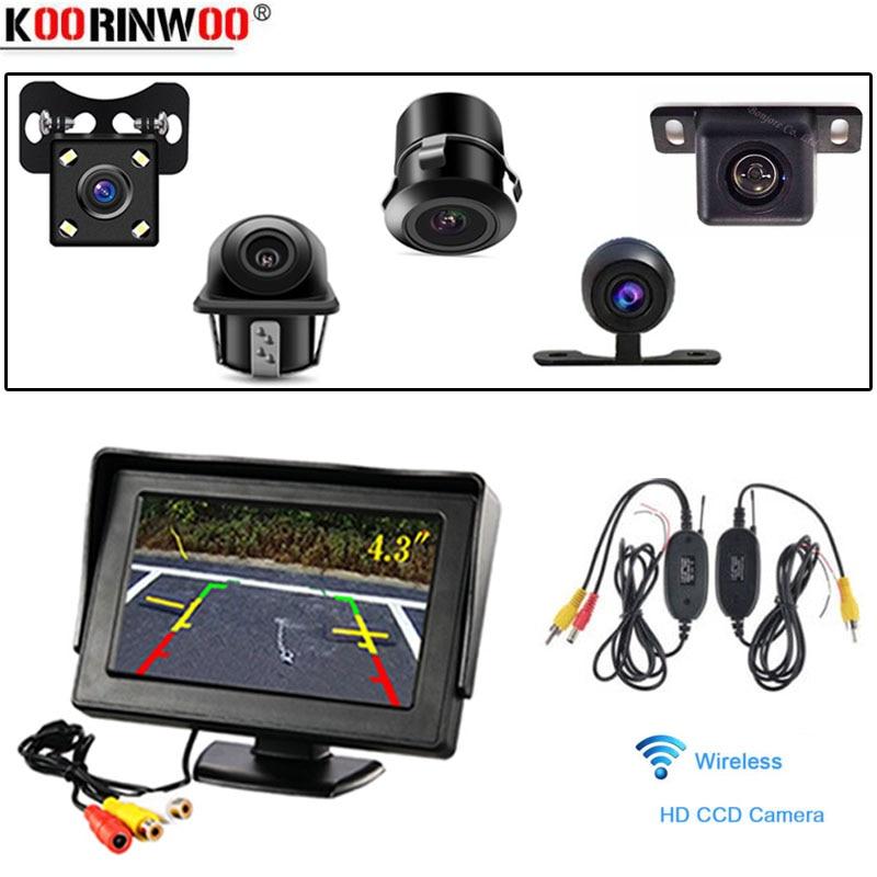 Koorinwoo Sans Fil 4.3 pouce LCD Rétroviseur de Voiture Moniteur 2 entrées Vidéo DVD MAGNÉTOSCOPE affichage pour vue Arrière véhicule caméra inverse écran