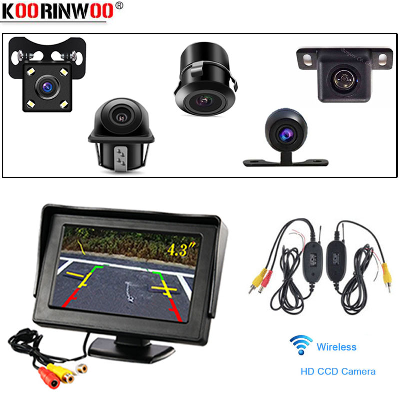 Koorinwoo Wireless 4.3 Inch LCD Car Rearview Monitor 2 Video Inputs DVD VCR Display For Rear View Vehicle Camera Reverse Screen