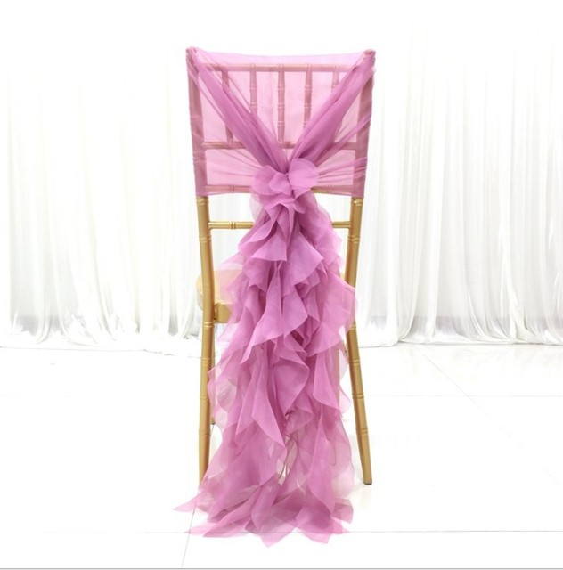 Hot Pink Chair Outdoor Plastic Chairs Stackable Aliexpress Com Buy Marious 100pcs Chiffon Hood For Wedding Theme Party Curly Willow Sash More Colors Available Free Shipping
