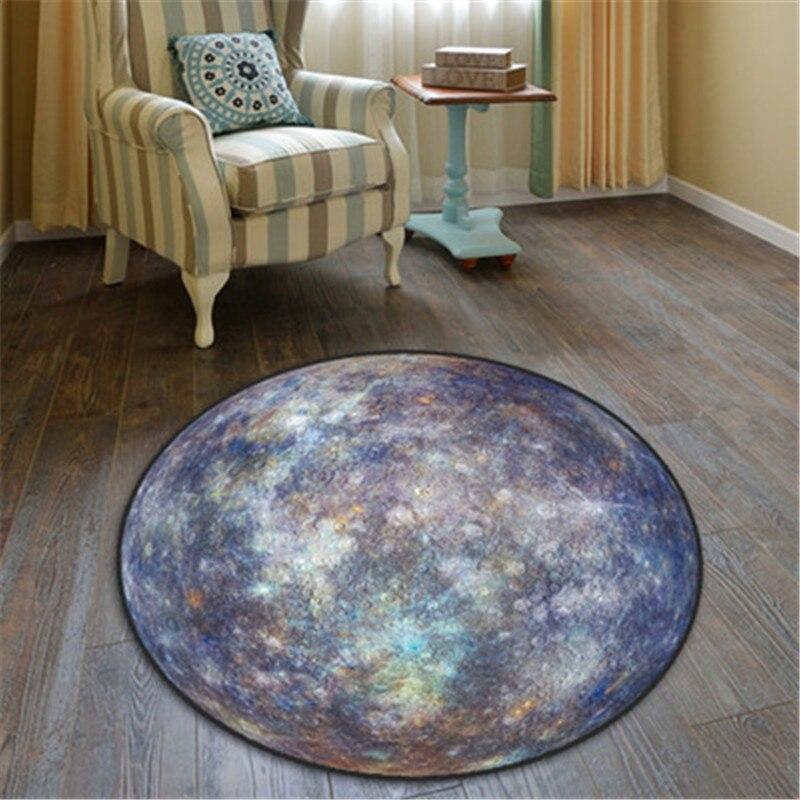 100X100 CM les neuf planètes du système solaire Mars lune tapis rond créatif maison salon ornements X1000