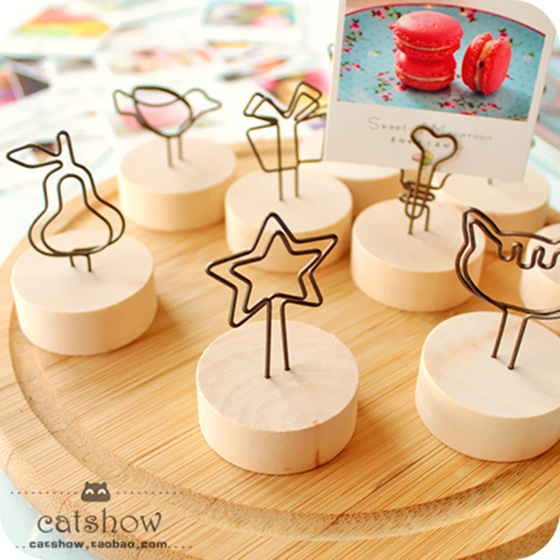 Cute Kawaii Natural Wood Memo Pincer Clips Paper Photo Clip Holder Wooden Small Clamps Stand For Office Supplies Accessories
