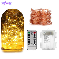 Waterproof LED Copper String Lights Remote Control Dimmable Wedding Garland Light For Home Decoration Christmas Garden