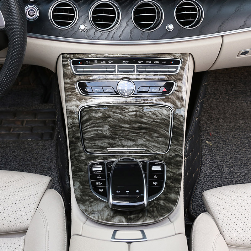 Marble color For Mercedes Benz W213 E Class 2016 2017 2018 ABS Plastic Console Gear Panel