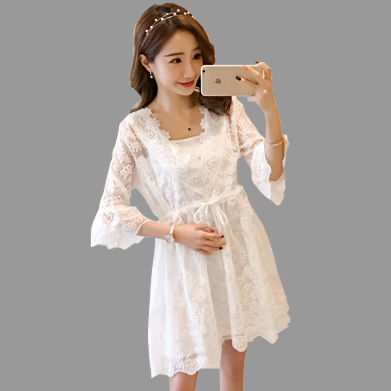 Maternity Clothes Spring And Summer New Thin Long Sectionlace Superexcellent White Pregnant Maternity Skirt Lace Two-piece Dress