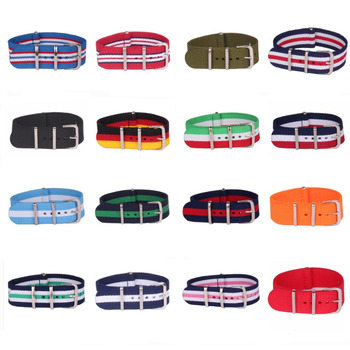 10pcs Wholesale Lot Stripe Retro 14 mm Strong Military Army nato fabric Nylon Watch Woven Strap Band Buckle belt 14mm watchbands