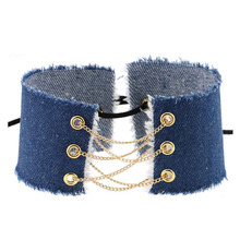 Denim Choker with Gold Chain