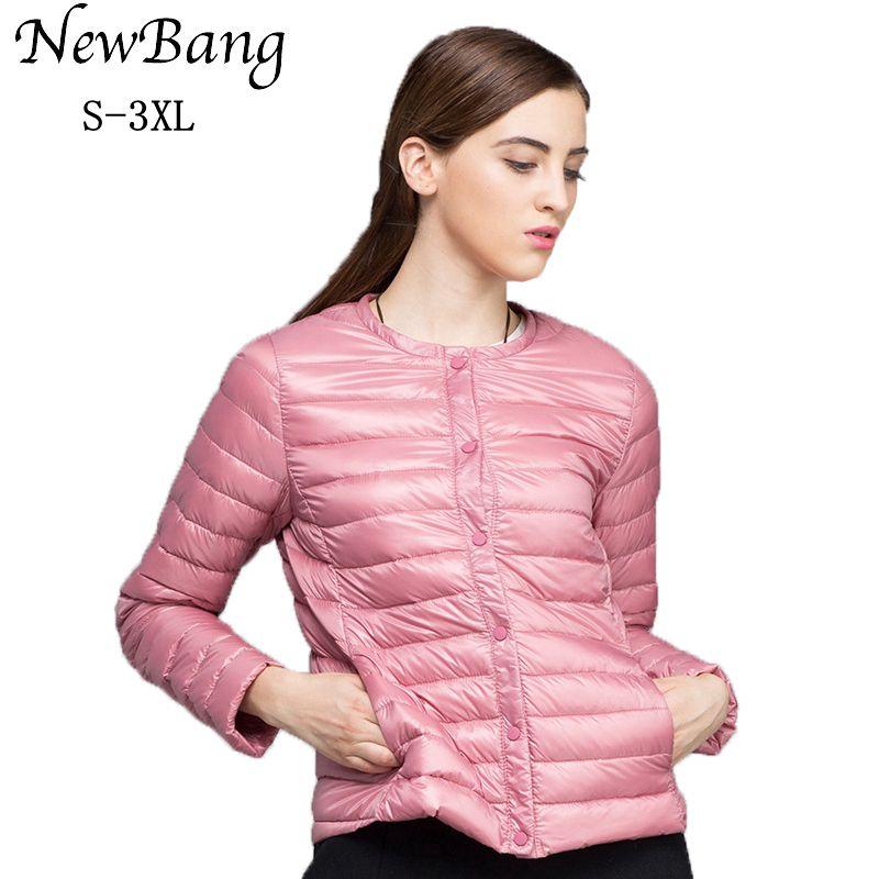 NewBang Brand Down Coat Female Ultra Light Down Jacket Women Thin Slim Windbreaker Without Collar Coat Lightweight Warm Parkas