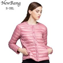 NewBang Brand Down Coat Female Ultra Light Down Jacket Women Thin Slim Windbreaker Without Collar Coat