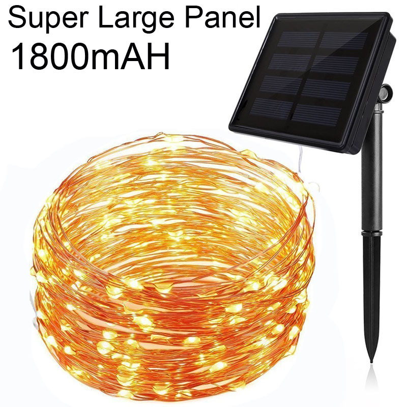 1800mAh 20M / 66Ft 200LED 8 Model Garde Solar Copper Wire LED String Light Udendørs Vandtæt Til Bryllup Juledekoration