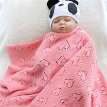 cotton unique hollowing heart knitted crochet summer thin baby wrap Baby Blanket Toddler kids back seat cover