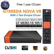 цена на GT Media V8 Nova DVB-S2 Freesat Satellite Receiver V8 Super New Version H.265 WIFI+1Year Europe Spain PT DE PO CCcam TV decoder