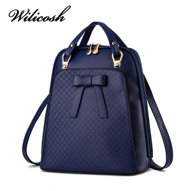Wilicosh Backpack Women Fashion Bag PU Leather Preppy Backpacks for Teenagers Girls Embossed Multi School Bag Mochilas SC5098