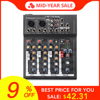LEORY Professional 4 Channels Live DJ Audio Mixer Sound Mixing Console With USB MP3 Jack For Karaoke KTV Music Show Party