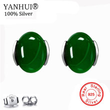 YANHUI 100% Original Gem Green Crystal Stud Earrings for Women Fine Jewelry Solid 925 Sterling Sliver Fashion Stud Earrings EC39(China)