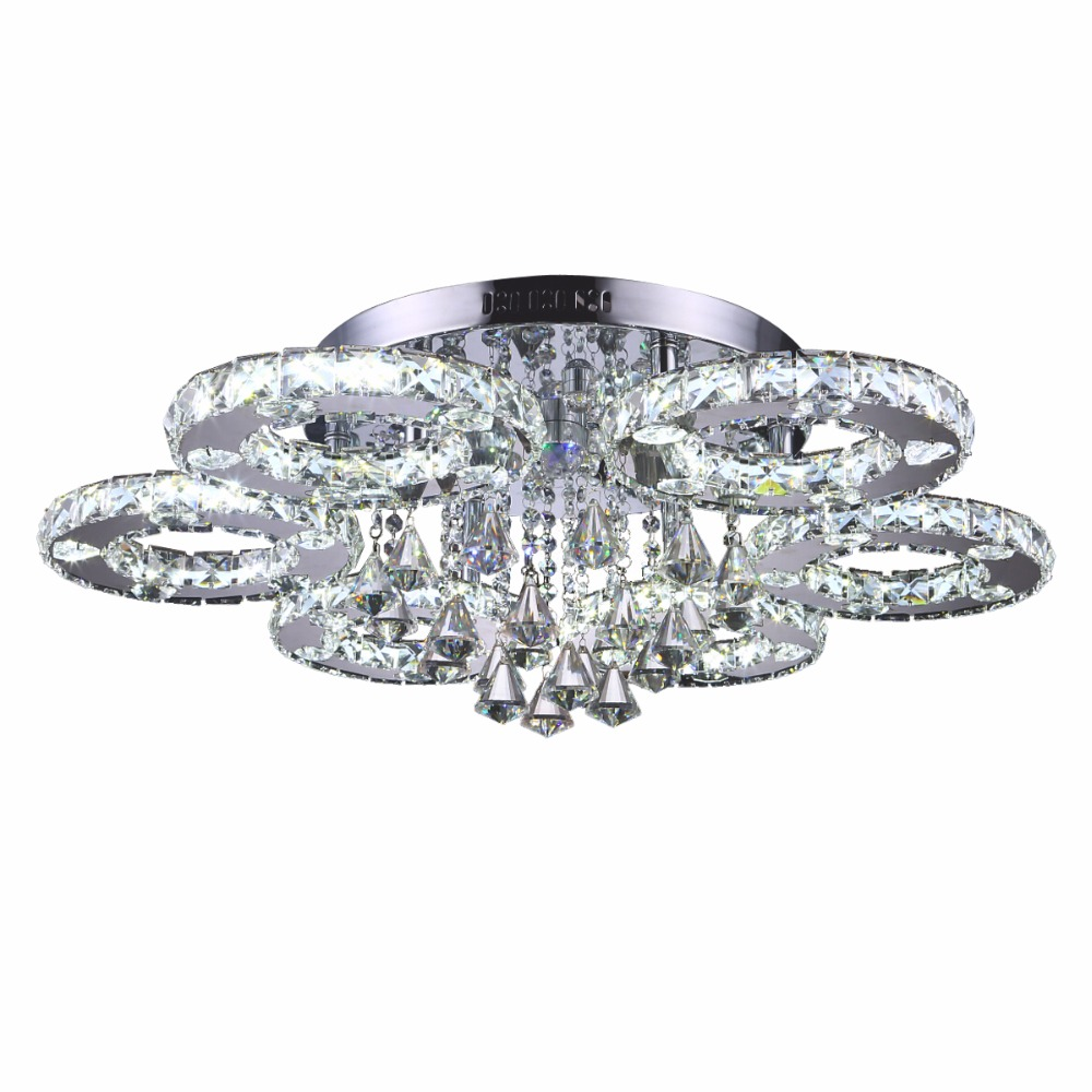 Modern LED Crystal Ceiling lights Flush Mount Ceiling Lamp with Decorative Red/Blue leds Remoter Control LED Lamp Ceiling