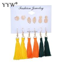 6Pairs/Set Tassel Drop Earrings Set For Women Girl 2019 Bohemian Female Fashion Wedding Jewelry Gold Leaf Pineapple Long Earring bfh fashion charm large circle tassel drop earrings for women girl wedding party bohemian long earring jewelry gift wholesale