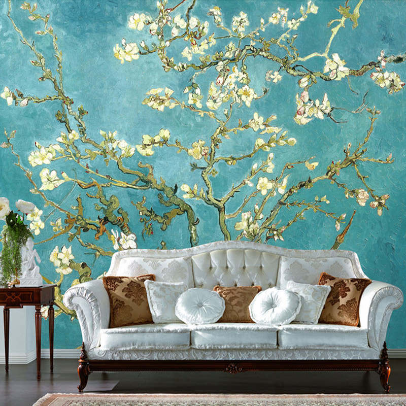 European Style Retro White Flowers Photo Wallpaper Living