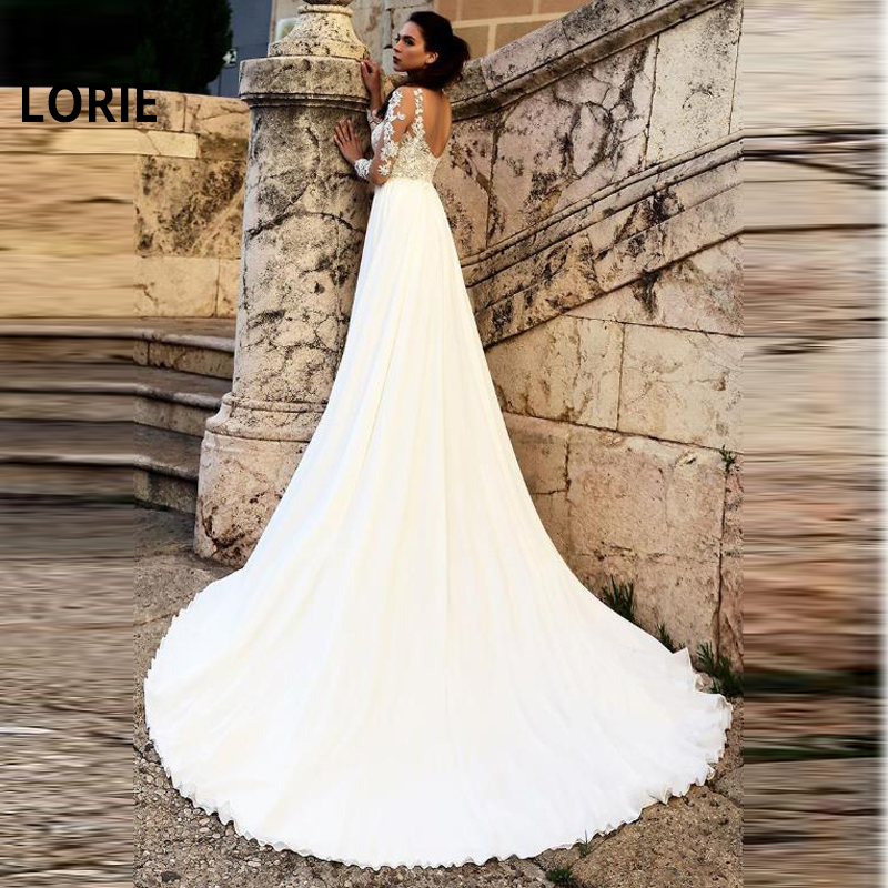 LORIE New! Chiffon Sheer Jewel Neckline A-line Wedding Dress With Lace Appliques & Slit Beach Boho Long Sleeve Bride Dresses