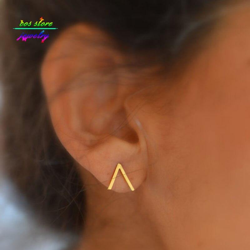 Peak Mountain Gold Silver Black Plated Stud Earrings V Shaped Geometric
