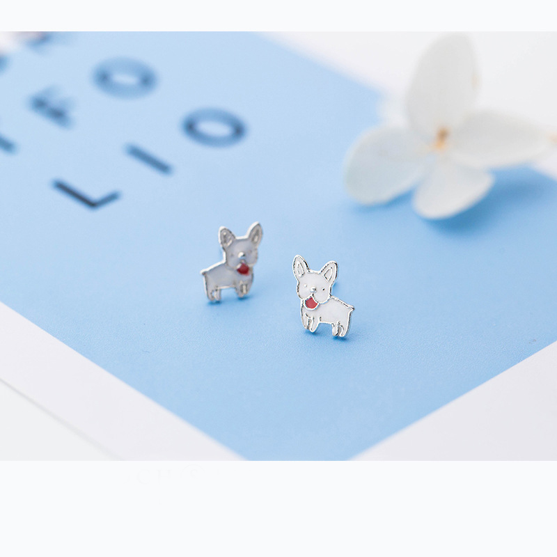 MloveAcc Hot Sale 925 Sterling Silver Statement White Enamel Puppy Dog Small Stud Earrings for Women Sterling Silver Jewelry