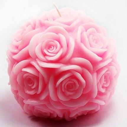 Moule en Silicone 3D grande boule de rose moules à chocolat gel de silice fleur bougie moule à la main savon moule résine argile arôme pierre moules - 2