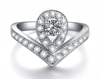0.25ct cushion princess cut SONA cocktail ring 925 sterling silver party ring (YD)