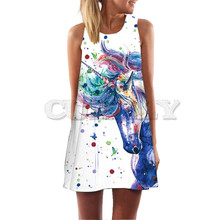 CUERLY 3D Unicorn Print Summer Dress Women Bohemian Beach Sundresses Female Dresses Dashiki Hippie Boho