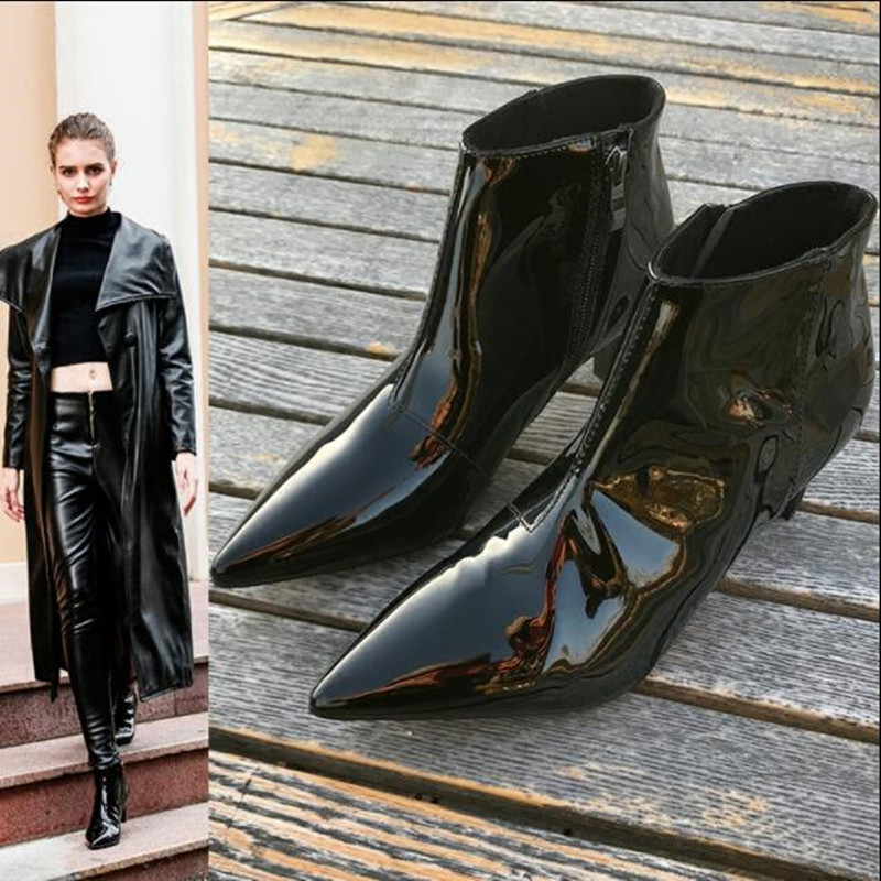 Western Chic Bella Hadid Outfit Combat Boots 2017 Fashion Women Shoes Black  Patent Leather Lace Up Studded Motorcycle Booties 0e47fbf3166b