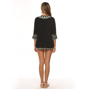 Image 2 - Neueste Trendy Hand Stickerei Blusen High end Boutique Floral Shirts Mode frauen Langarm V ausschnitt Tops Bluse Bestickt