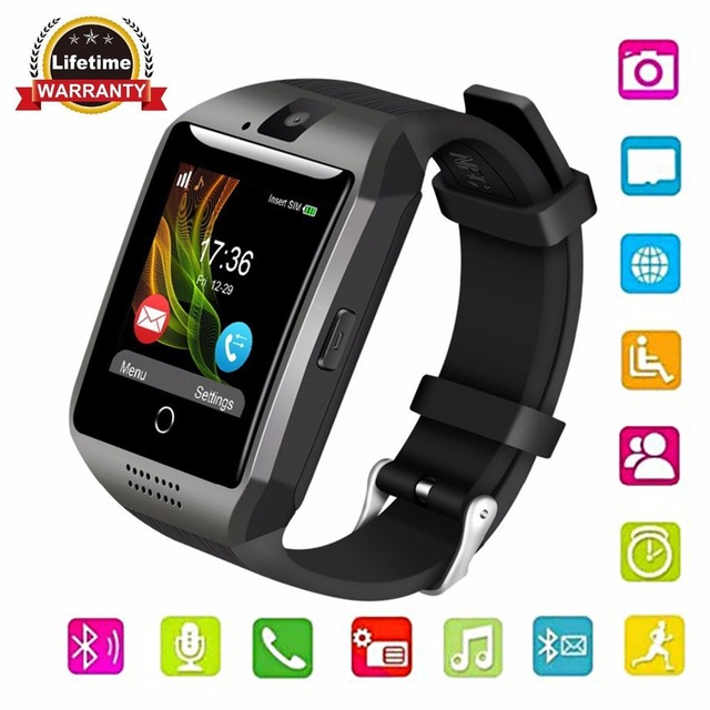 Gonoker Bluetooth Q18 Smartwatch Смарт часы сенсорный экран с Камера Smart наручные  часы Часы сотовый телефон e2761889e8d73