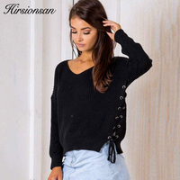 Hirsionsan Women Sweaters And Pullovers 2017 Autumn New Lace Up Sweater Knitted Solid V Neck Jumper