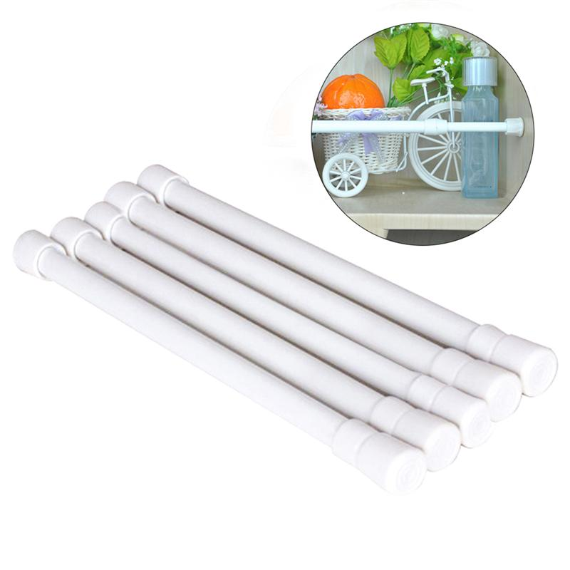 LUOEM 5 PCS Bathroom Shower Curtain Rod Adjustable Shower Curtain Tension Rod Extendable Bath Curtain Pole 30-50cm (White)