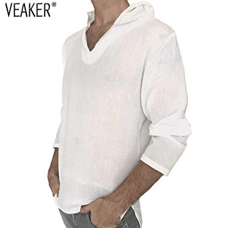 2018 ใหม่ผู้ชาย Hooded ผ้าลินินชายเสื้อฤดูใบไม้ร่วงแขนยาวสีทึบเสื้อ T ผู้ชายผ้าลินินผ้าลินินเสื้อยืดสีขาว M-3XL