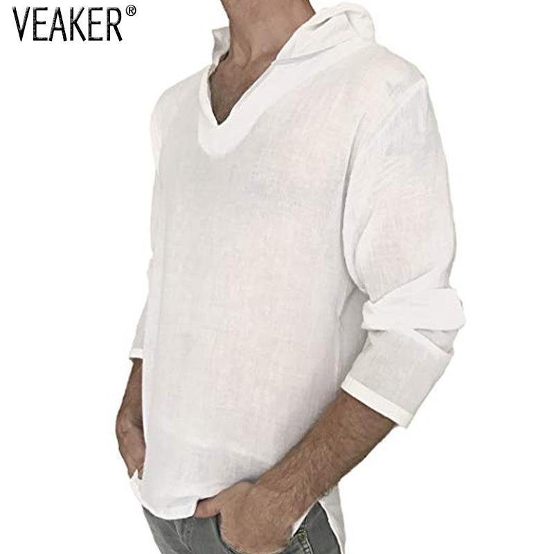 2018 New Men's Hooded Linen   T     Shirt   Male Autumn Long Sleeve Solid Color Pullover   T     shirts   Men Cotton Linen White   T     shirt   M-3XL